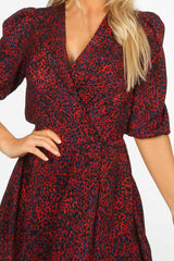 Red Long Sleeve Leopard Print Wrap Look Dress