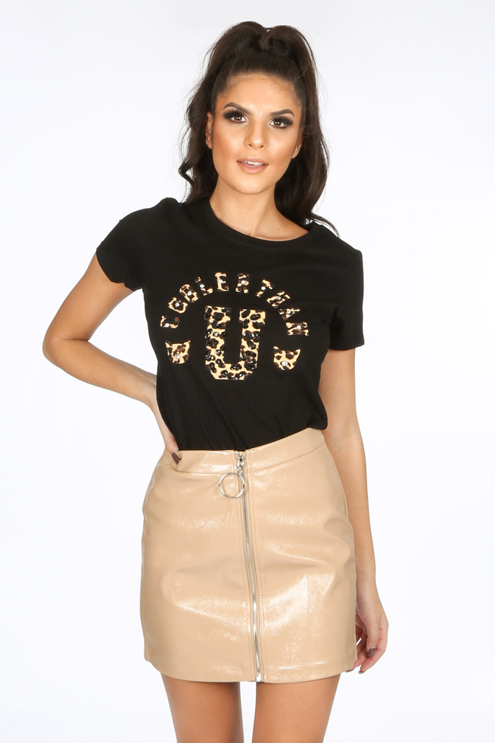 Black T-Shirt With Leopard Print Motif