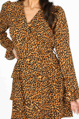 Brown Leopard Print Frill Wrap Look Dress