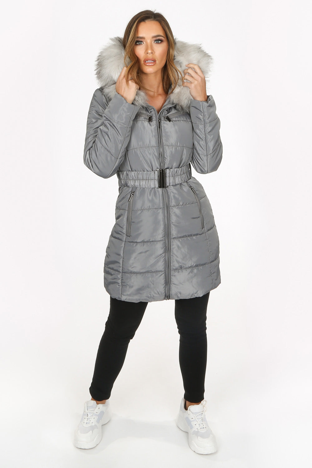 Grey Long Quilted Puffer Coat With Belt </div>