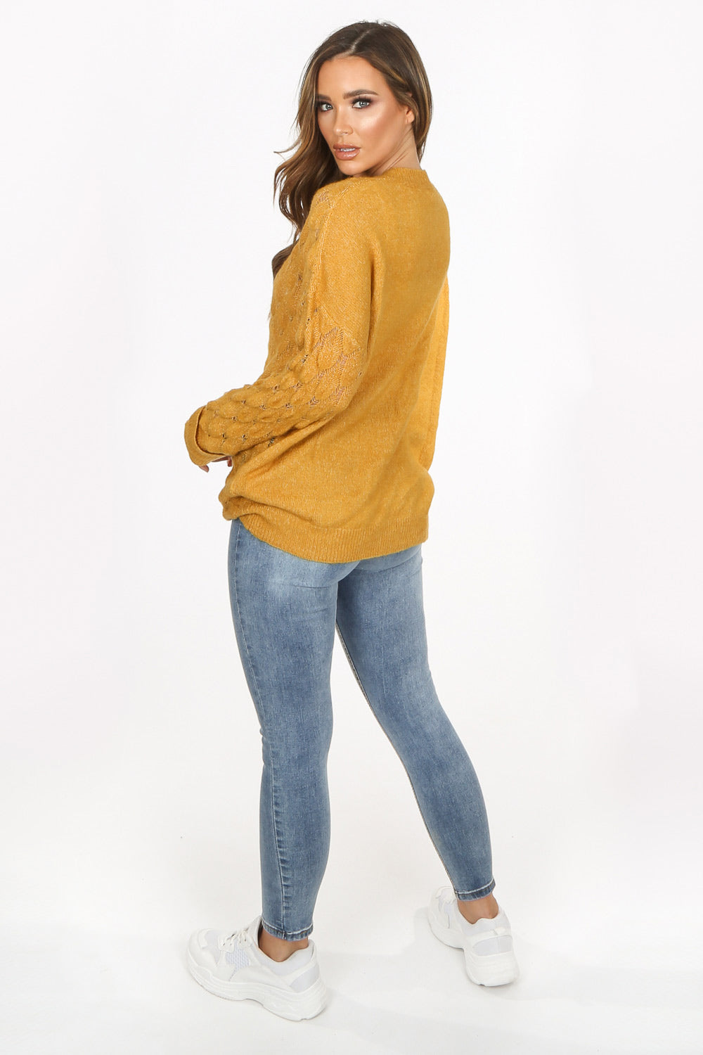 Mustard V Neck Textured Over Sized Jumper
