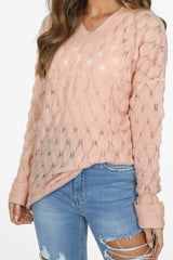 Pink V Neck Textured Over Sized Jumper