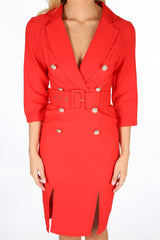 Red Long Sleeve Belted Blazer Midi Dress