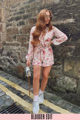 Long Sleeve Chiffon Floral Playsuit In Pink