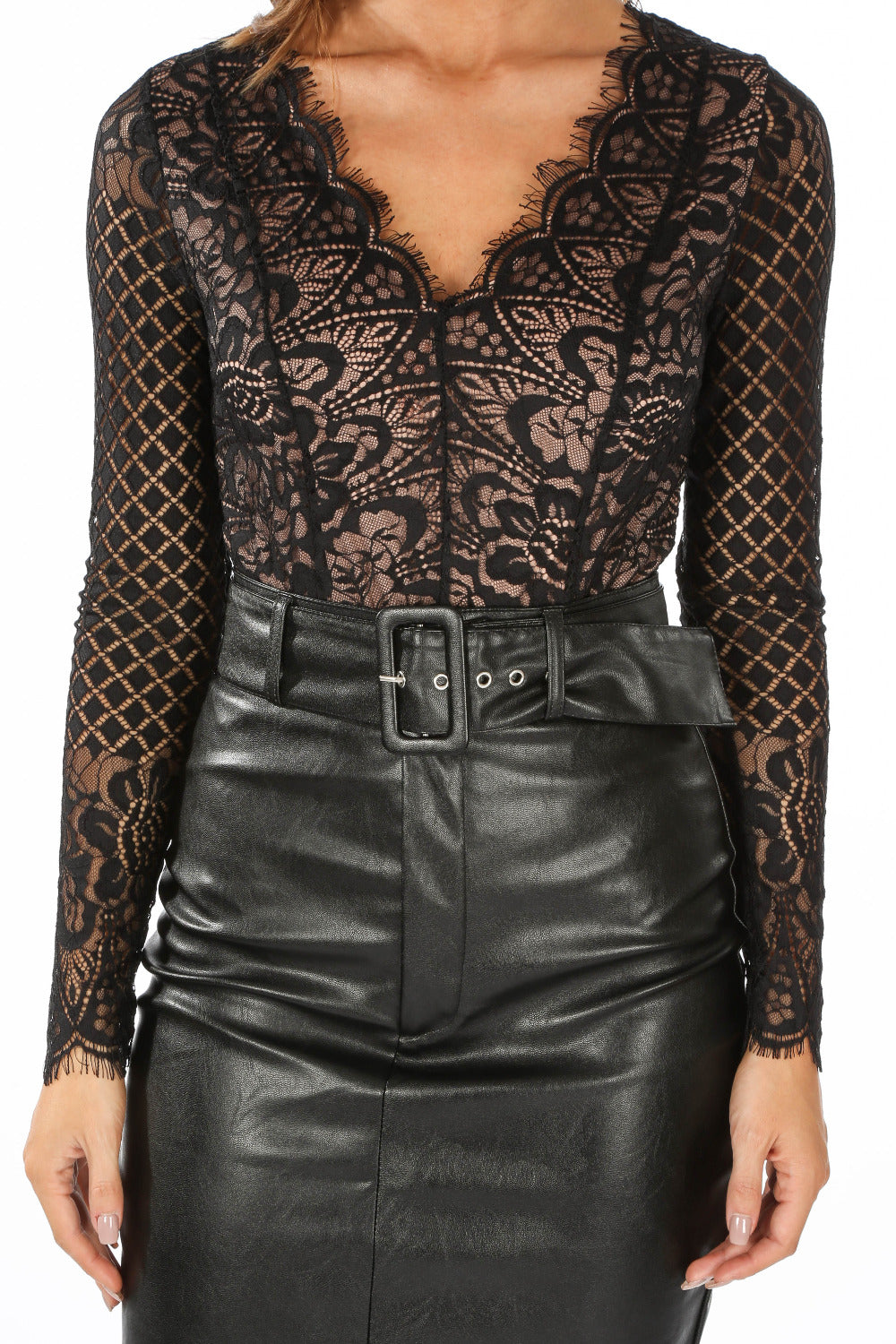 Long Sleeve Contrast Lace Bodysuit In Black