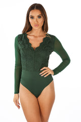 Long Sleeve Scallop Edge Slinky Crochet Bodysuit In Green