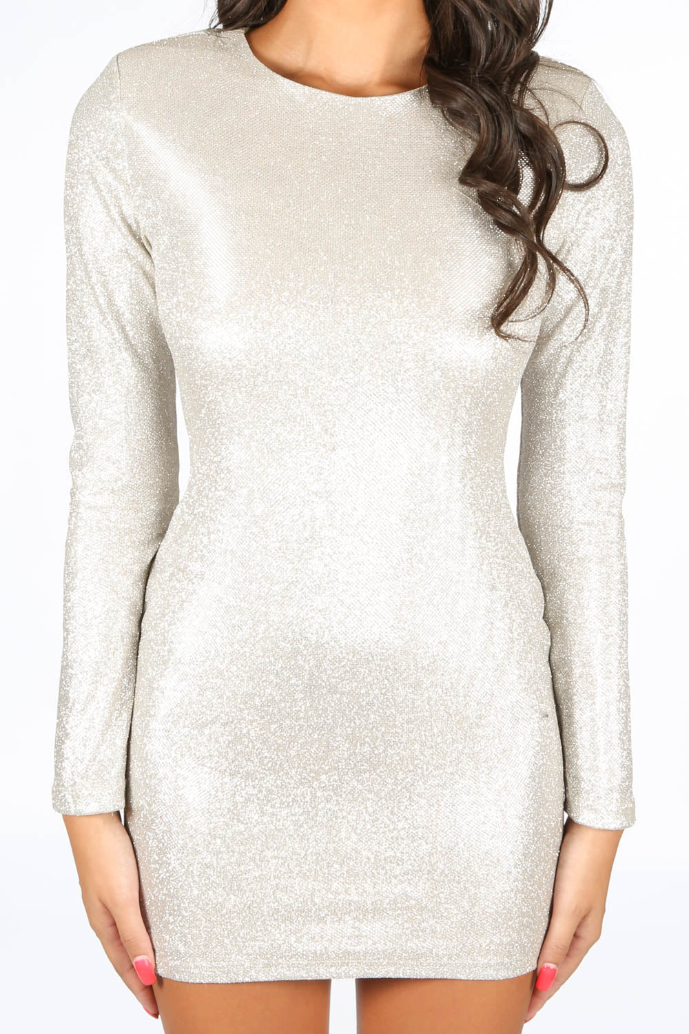 Long Sleeve Metallic Bodycon Dress In Gold