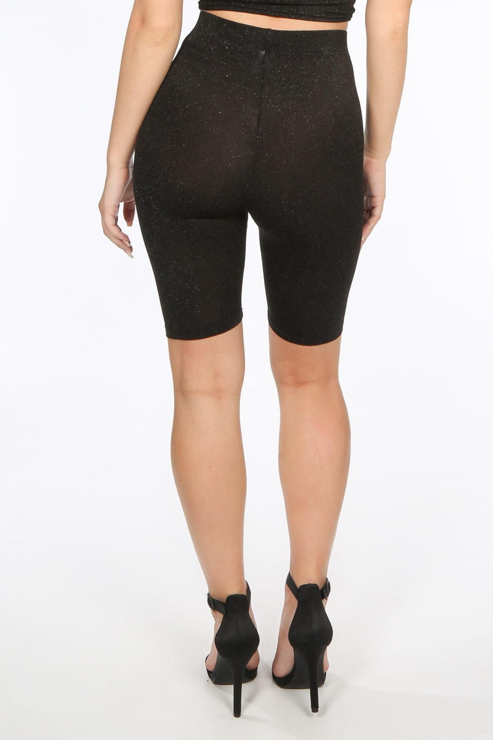 Black Lurex Cycling Shorts