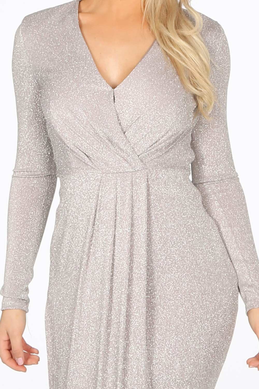 Silver Long Sleeve Lurex Maxi Dress With Split
