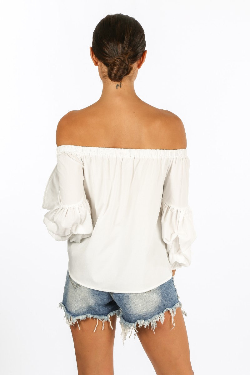 White Off The Shoulder Pearl Embellished Bow Front Top