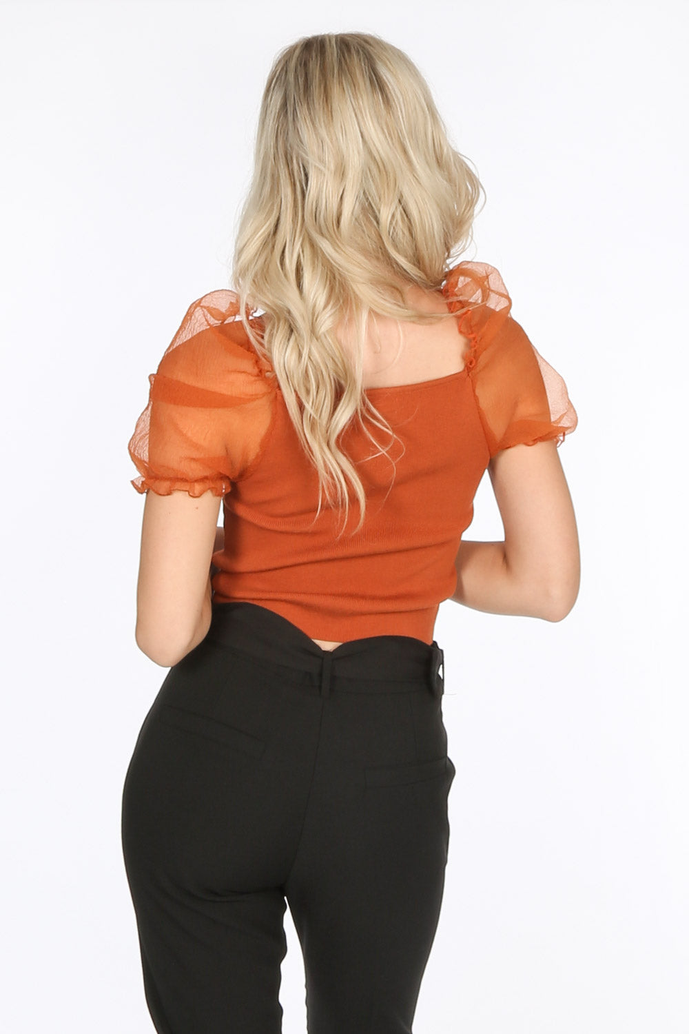 Rust Organza Sleeve Knitted Crop Top