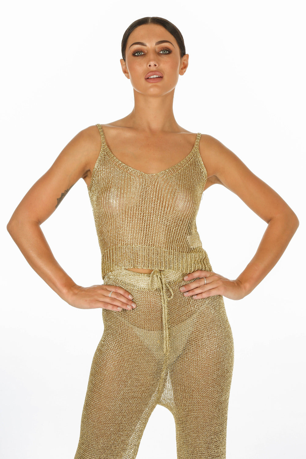 Metallic Knitted Crop Top & Trouser In Gold