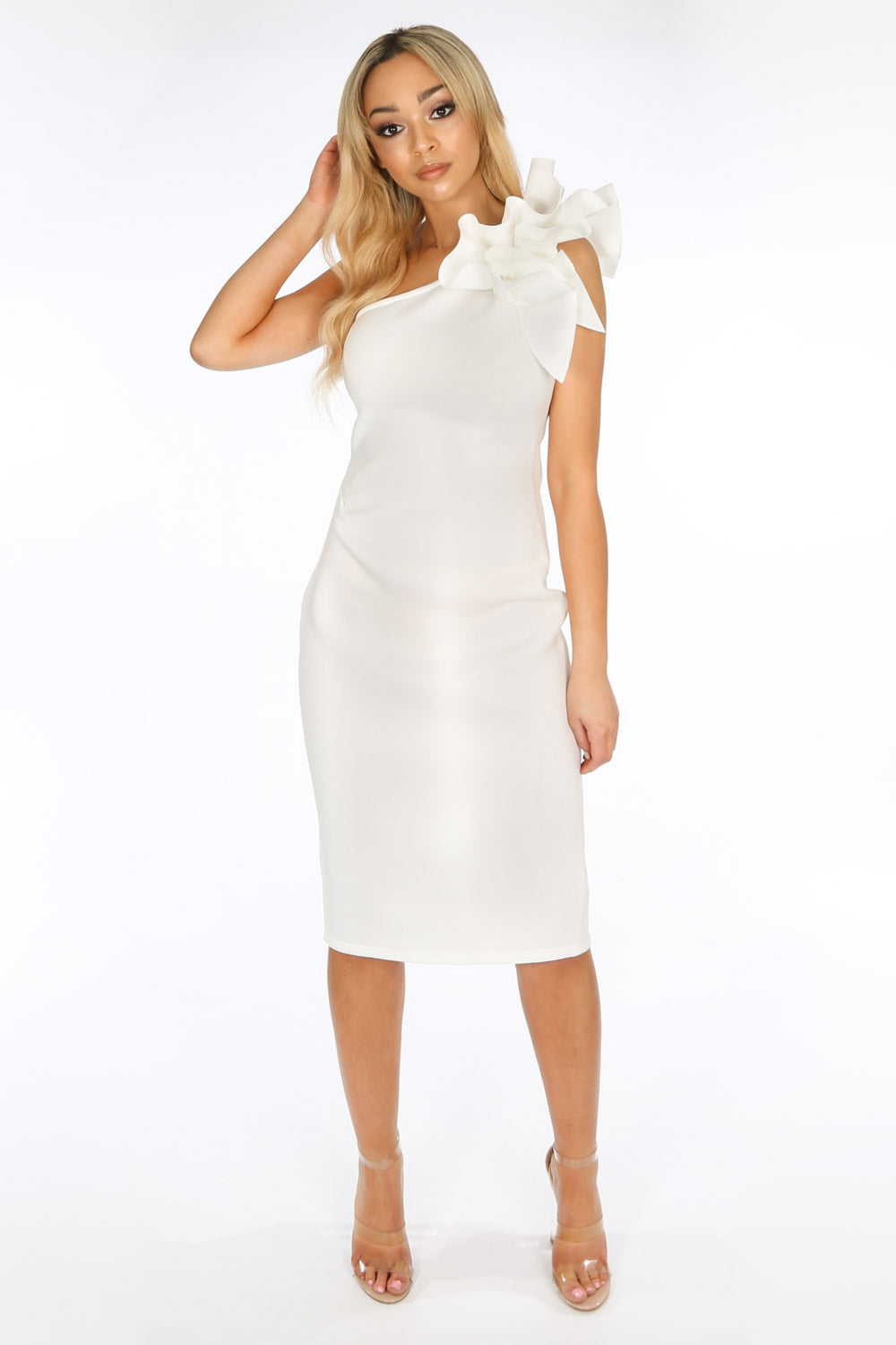 One Shoulder Ruffle Midi Dress In White Neoprene