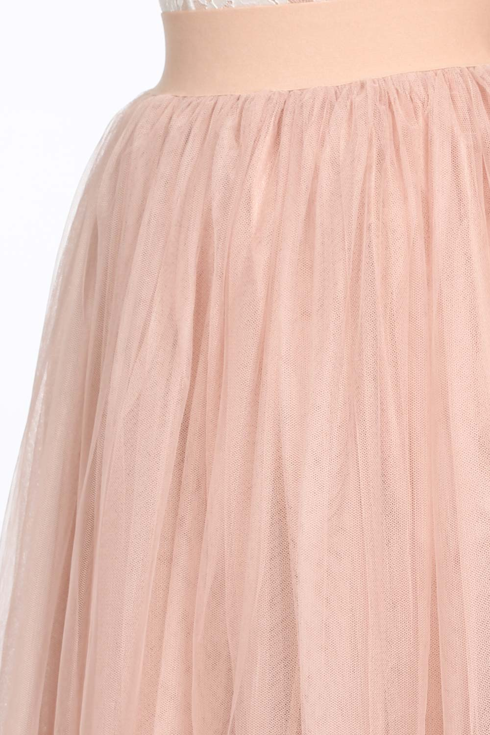 Midi Tulle Skirt In Nude Pink