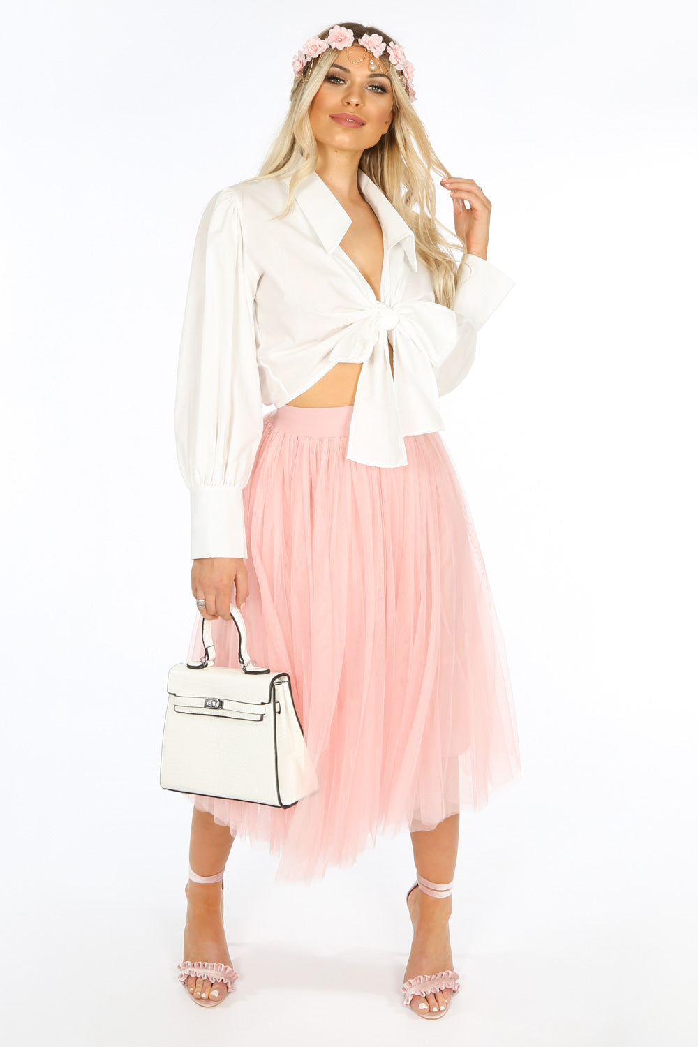 Midi Tulle Skirt In Pink