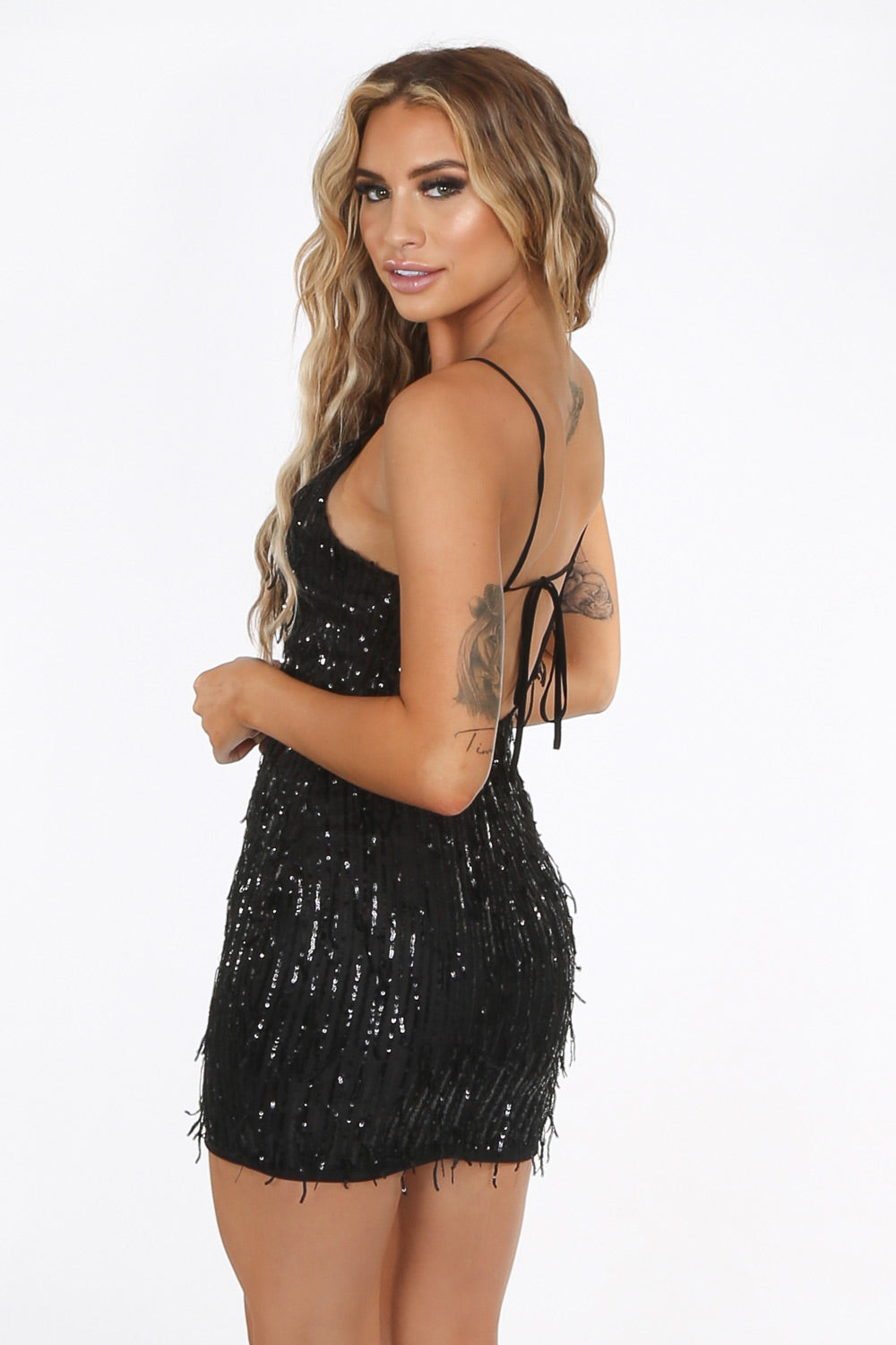 Black Sequin Strappy Back Mini Dress