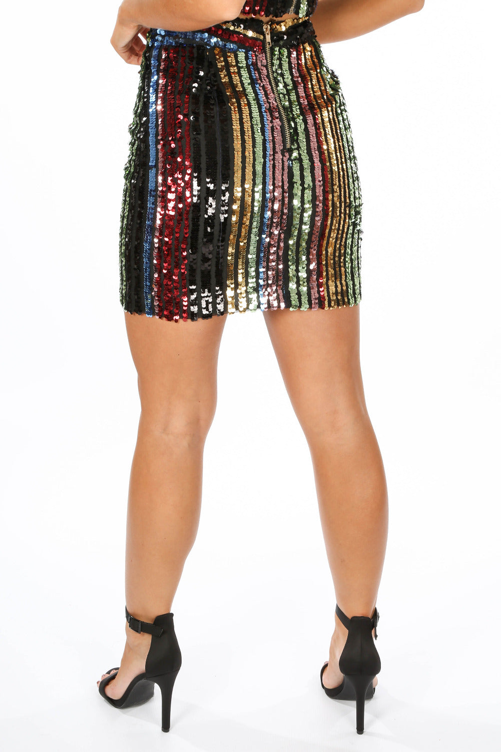 Multi-Coloured Stripe Sequin Mini Skirt