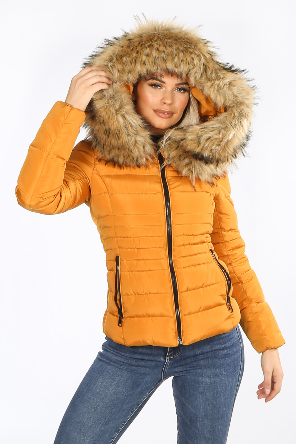 Mustard Fitted Puffer Jacket With Natural Faux Fur
