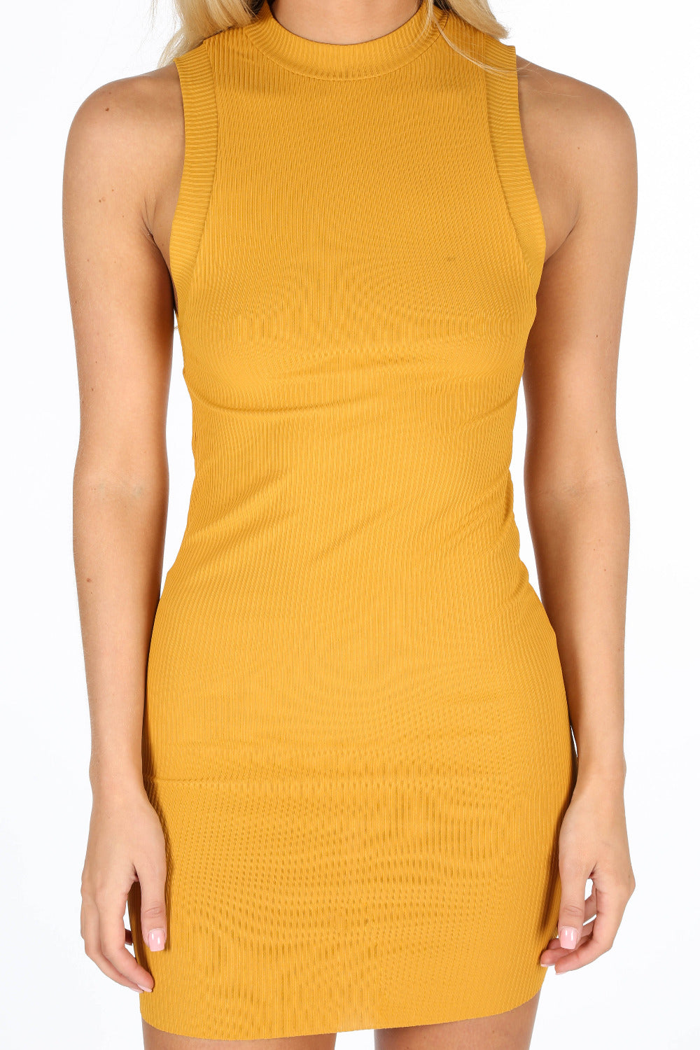 Mustard High Neck Ribbed Jersey Mini Dress