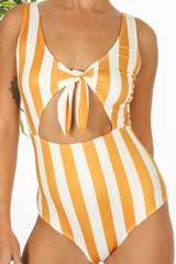 Mustard Striped Tie Front Swimsuit
