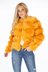 Mustard Super Soft Faux Fur Jacket