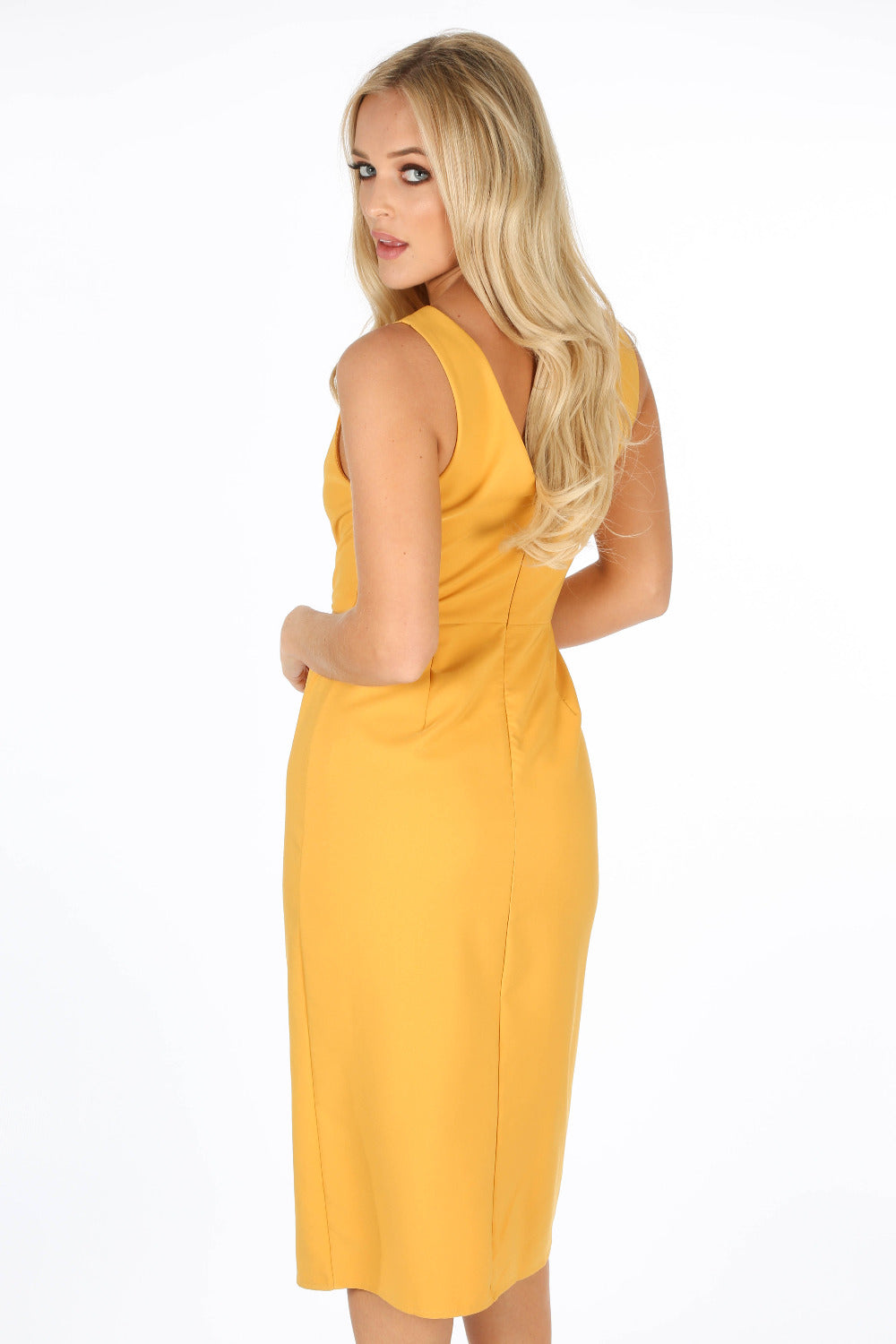 Mustard Tailored Midi Dress With Button