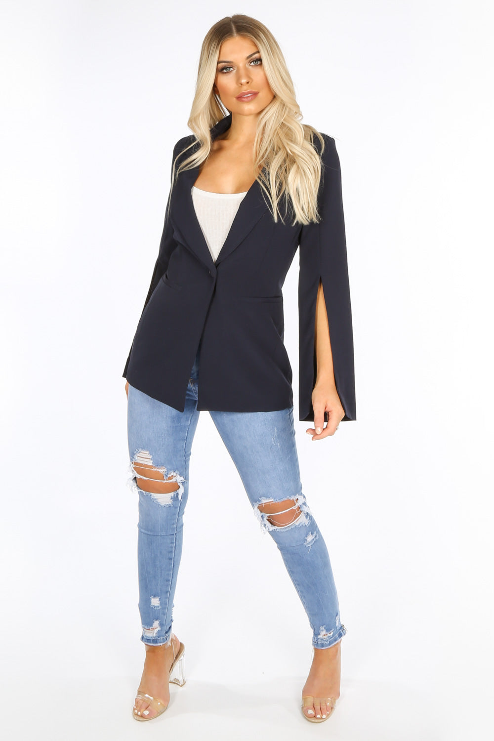 Tailored Blazer with Open Sleeve In Navy