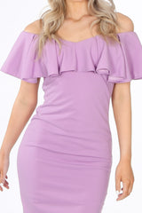 Frill Bardot Midi Dress In Lilac