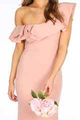 Pink One Shoulder Frill Maxi Dress