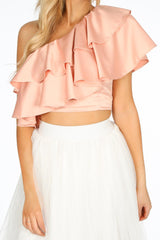 Pink One Shoulder Frill Crop Top