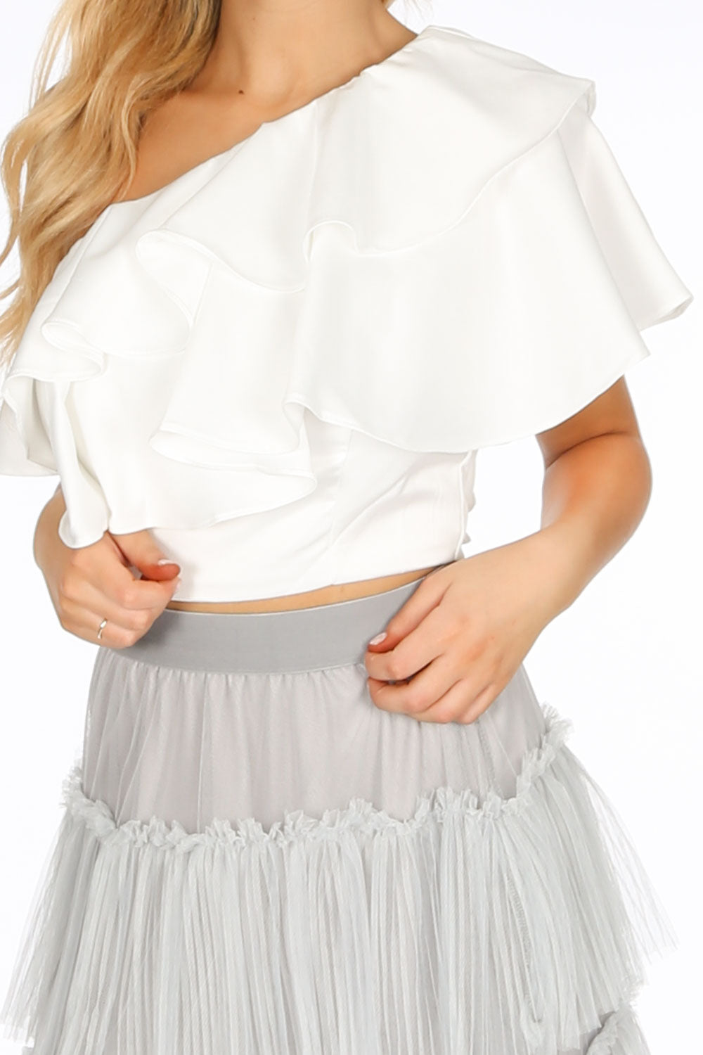 White One Shoulder Frill Crop Top