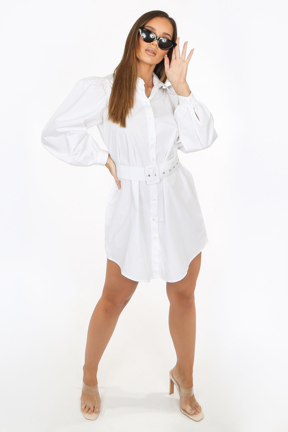 White Oversized Belted Shirt Dress