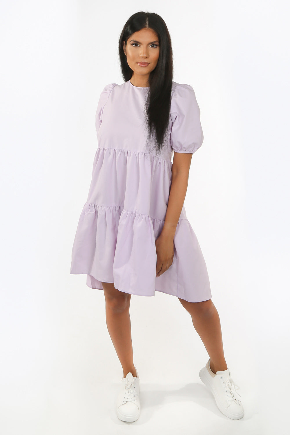 Lilac Short Sleeve Midi Smock Dress