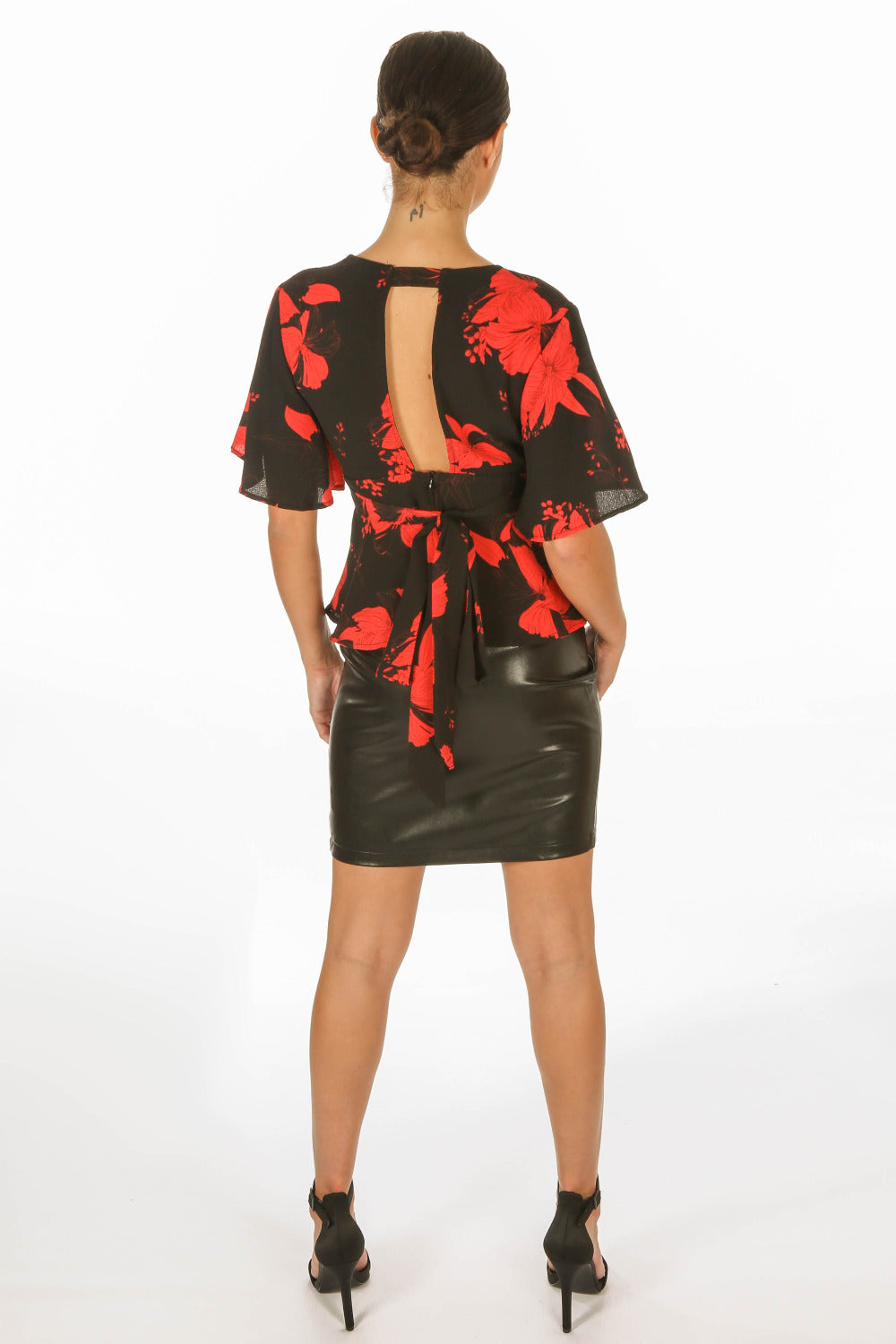 Black Floral Peplum Tie Back Blouse