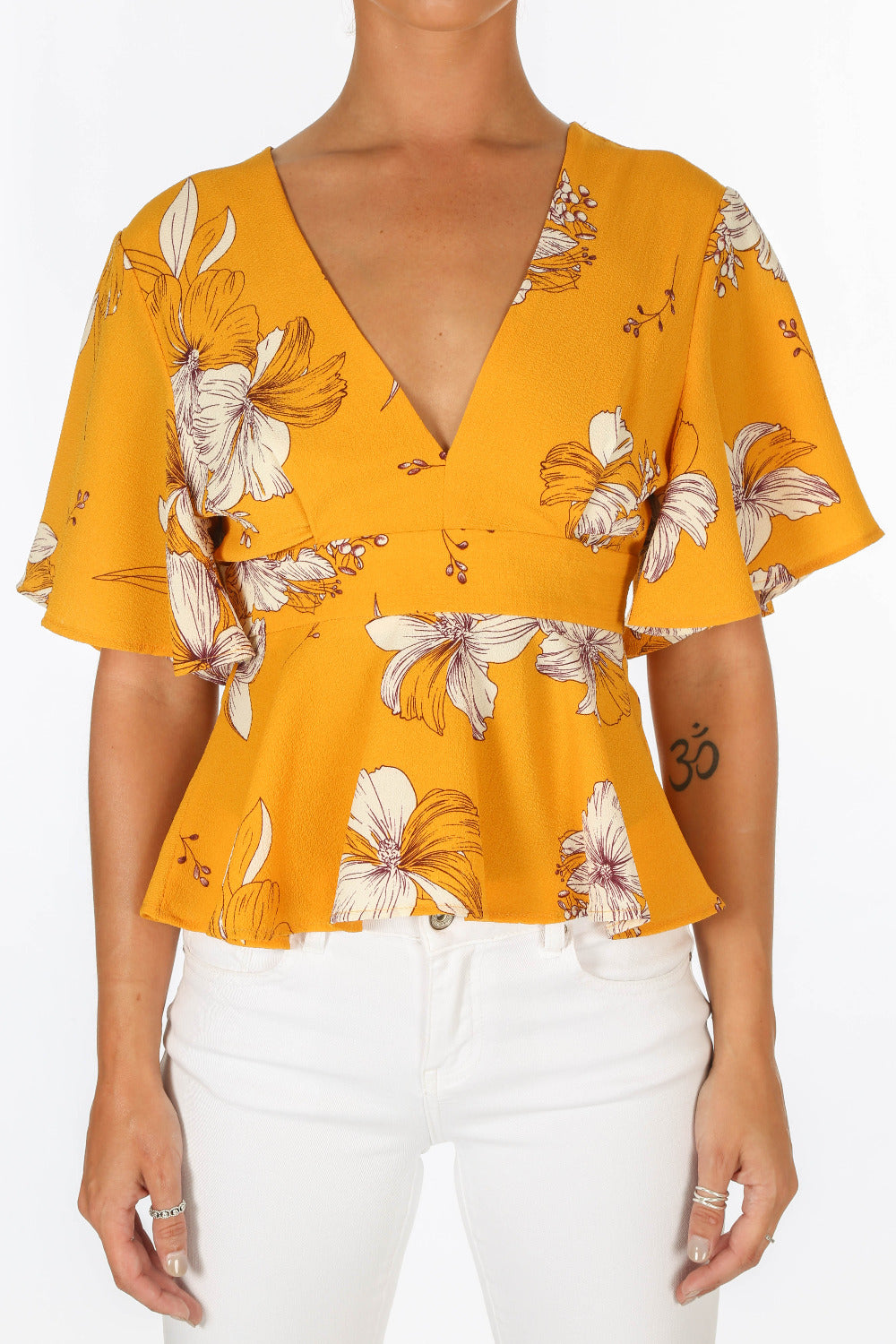 Yellow Floral Peplum Tie Back Blouse