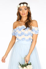 Chiffon Rose Applique Crop Top In light Blue