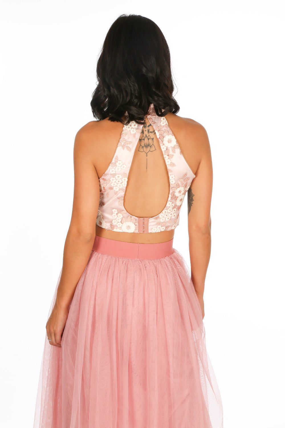 Pink High Neck Embroidered Crop Top