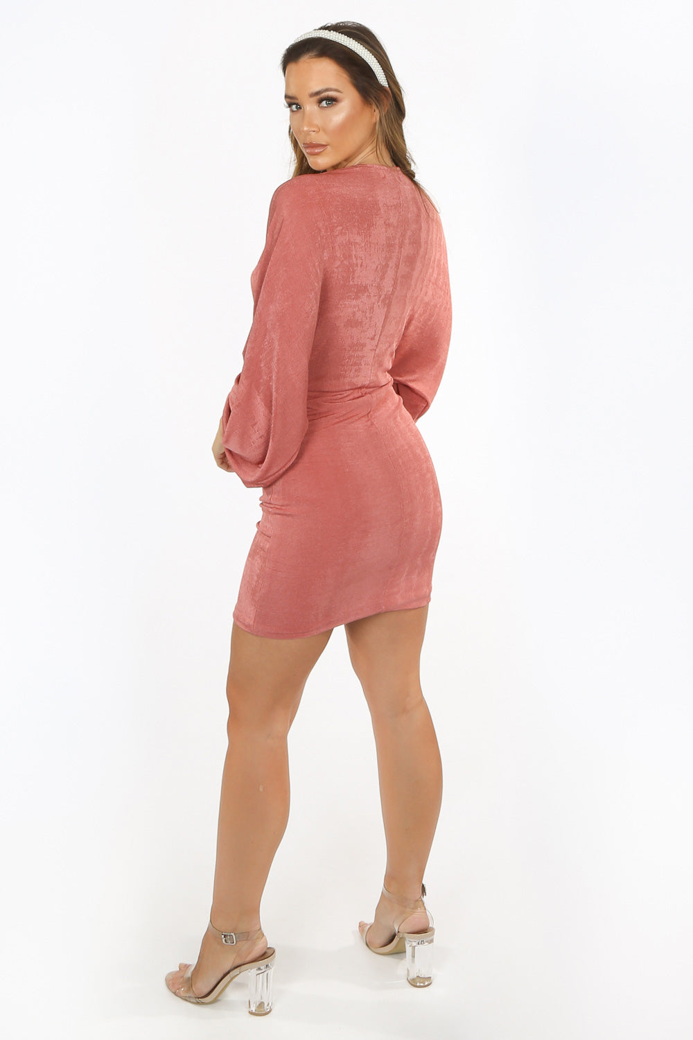 Pink Slinky Long Sleeve Plunge Mini Dress