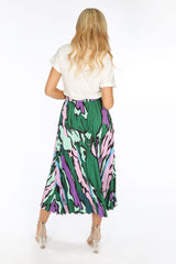 Green Abstract Print Pleated Midi Skirt