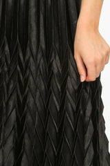 Black Satin Chevron Pleated Maxi Skirt