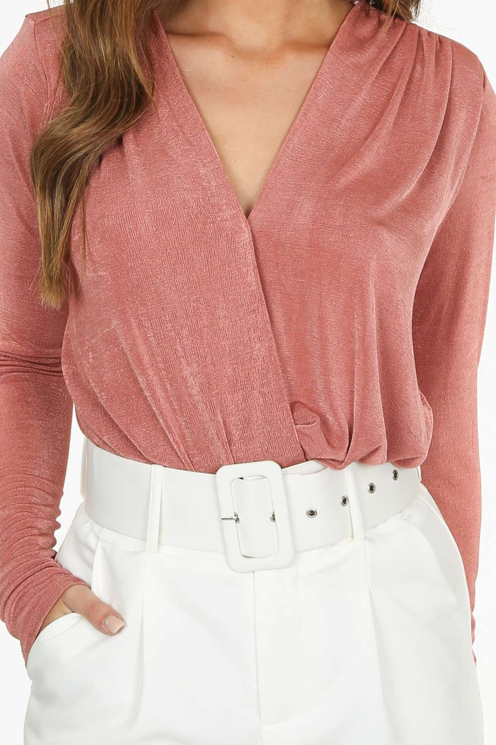 Blush Long Sleeve V-Neck Bodysuit