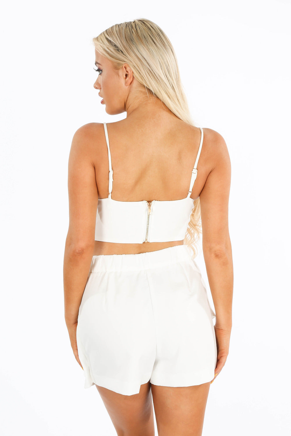 Plunge Front Bustier Bralet In White