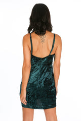 Plunge Front Velvet Mini Dress In Green
