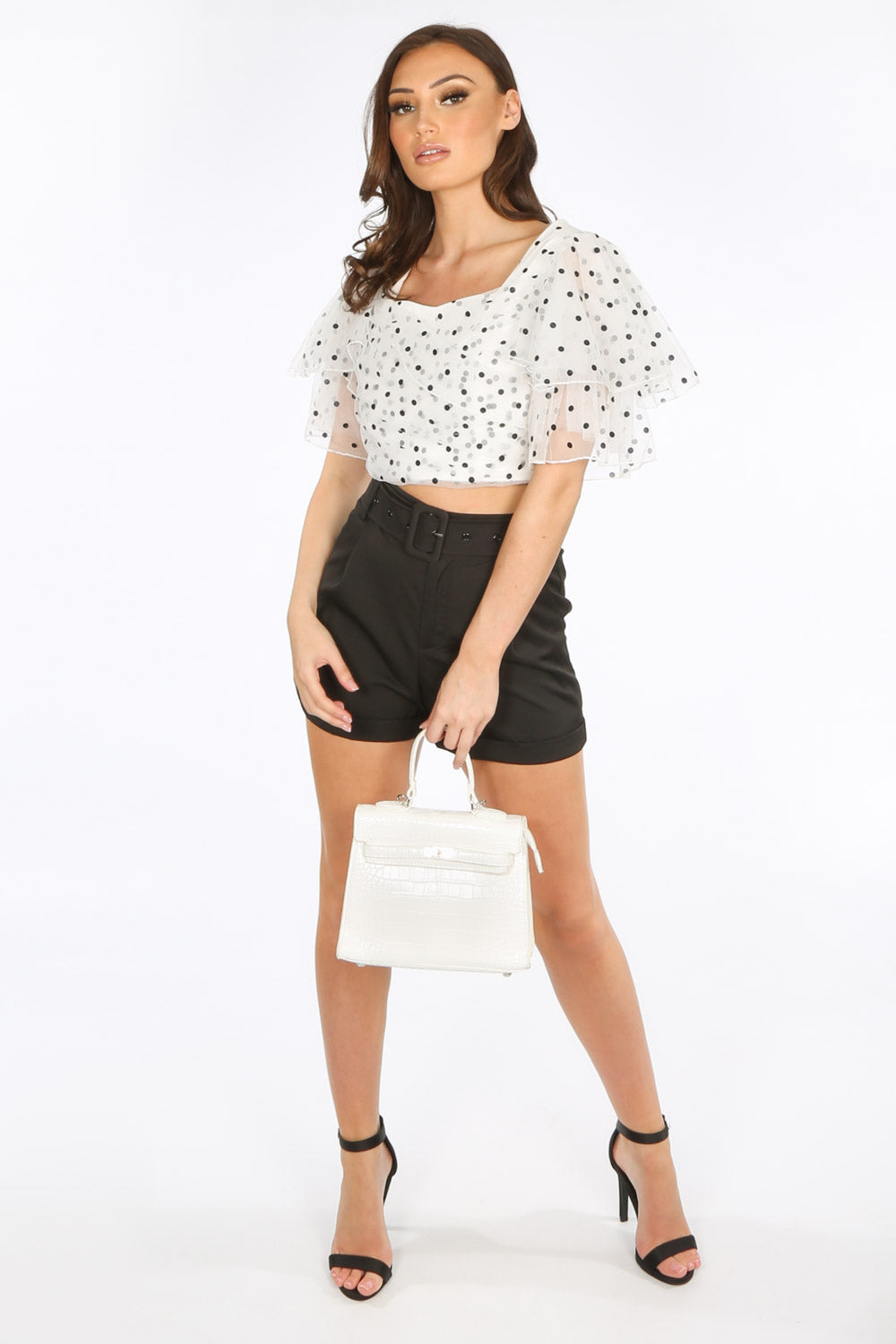 Polka Dot Tulle Crop Top