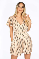 Nude Satin Polka Dot Playsuit