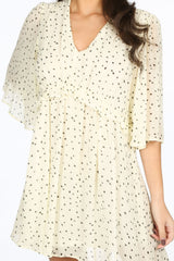 Cream Polka Dot Chiffon Smock Dress