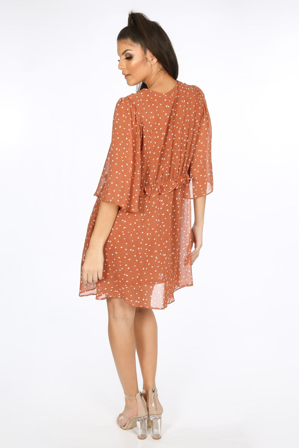 Tan Polka Dot Chiffon Smock Dress