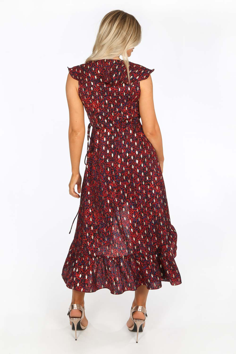 Red Gold Foil Leopard Print Wrap Midi Dress