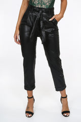 Black Faux Leather Paperbag Trouser