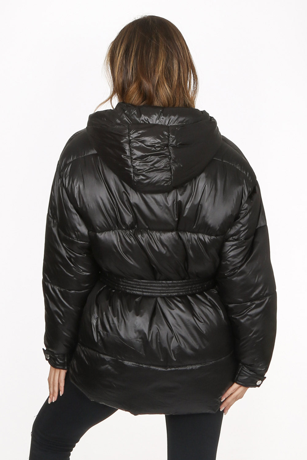 Black Quilted Belted Puffer Jacket